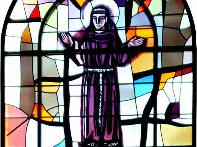 St. Anthony, stained-glass-window, Church of St. Elizabeth of Hungary, Denver, Colorado  ©  M. Conte