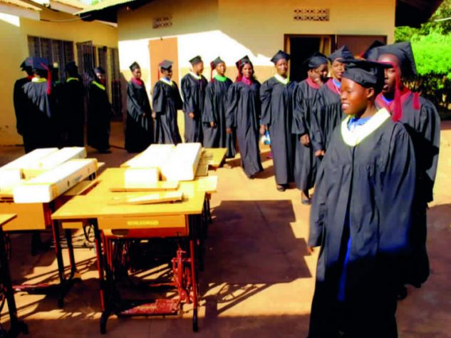 Students line up on graduation day to receive their certificates,