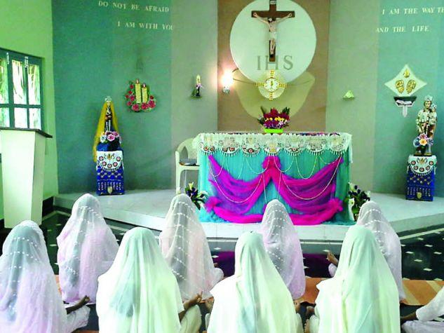 Indian nuns during Eucharistic Adoration