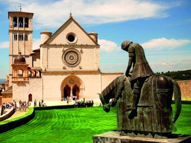 Bronze statue in front of St. Francis' Basilica in Assisi, Italy